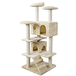 songmics arbre chat griffoir niches 132cm pct36m amazon. Black Bedroom Furniture Sets. Home Design Ideas