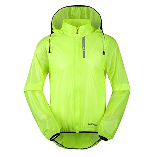 Santic Men's Cycling Rain Coat Jersey Bicycle Windproof Jacket Hooded Skin Coat Green X-Large 7008V (Bicycle Rain Jacket compare prices)