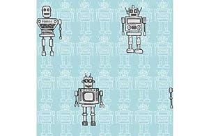 Retro Robot Wallpaper - Blue