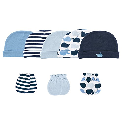 Luvable Friends 5 Caps and 3 Scratch Mittens Set, Whale