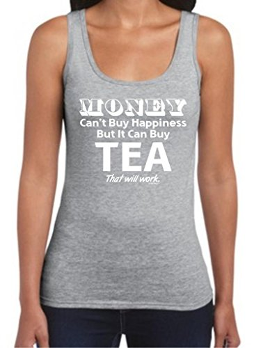 Money Can'T Buy Happiness But It Can Buy Tea Juniors Tank Top Large Sport Grey