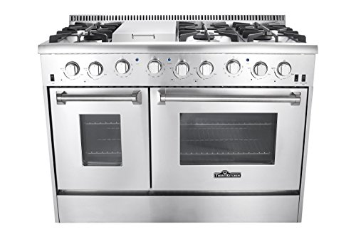 Thor Kitchen 48 inch Gas Range with 6 Burners and Double Ovens in Stainless Steel