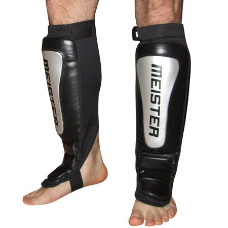 Meister Pro Leather Shin Instep Guards  - Silver Series w/