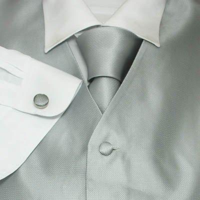 Mens Dress Vest Solid Silver Formal Vest for Wedding Gift Set Match Necktie