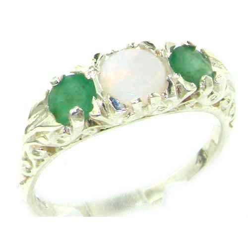 Luxury Ladies Solid Sterling Silver Natural Opal & Emerald Victorian Trilogy Ring - Size 12 - Finger Sizes 5 to 12 Available - Suitable as an Anniversary ring, Engagement ring, Eternity ring, or Promise ring