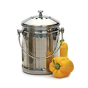 RSVP Stainless Steel Compost Pail, 1-Gallon