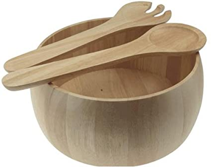 Wooden Salad Bowl And Servers Large Hevea Wooden Salad Bowl