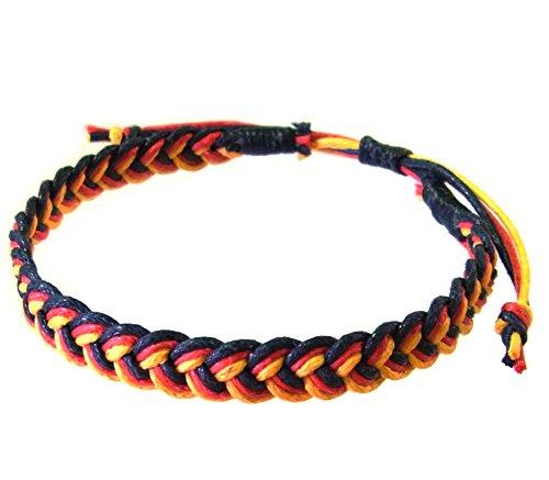 artisan-asiatique-bracelet-fait-main-100-ficelle-de-coton-couleur-noir-rouge-jaune-thailande