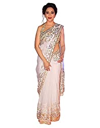 Surat Tex White Color Soft Net Embroidered Party Wear Saree with Heavy Work Blouse Piece-I70SESN-517