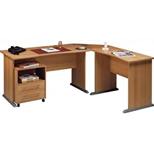 Mister meubles bureau informatique d 39 angle caisson barry i amazon - Bureau informatique angle ...