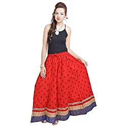 Navya Creations Rajasthani Ethnic Red Cotton Long Skirt