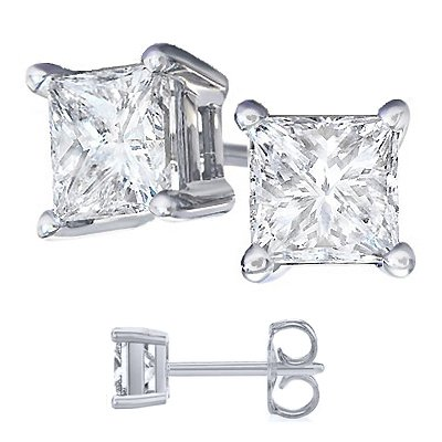 Cubic Zirconia Princess Cut 925 Sterling Silver Stud Earrings. Half a Carat Each Stone with Total Wight of 1.00 Carat Princess White Cz.