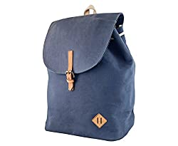blue Canvas Backpack Bag with genuine leather straps
