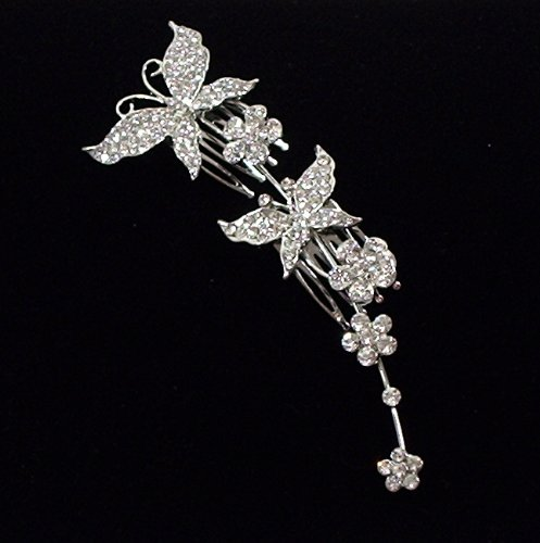 Crystal Butterfly Hair comb for Weddings, Proms, quinceanera or pageants
