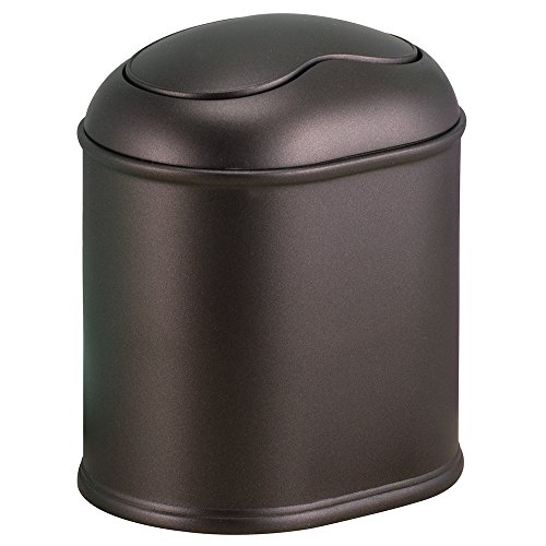 InterDesign York Vanity Countertop Wastebasket Trash Can, Bronze (Bathroom Trash Can With Lid compare prices)