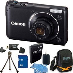 Canon Powershot A2200 14.1 MP Digital Camera with 4x Optical Zoom (Black)Premiere Bundle Includes Camera , 8 GB Memory Card, Card Reader, Battery, Carrying Case, Mini Tripod, & More.