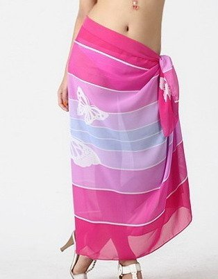 Tamari Pink Butterfly Print Sarong Beach Cover Up Wrap Dress For Women
