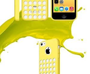 Ultra Slim Silicon Colourful Case for New Apple iPhone 5C Retro Dots Hole (Yellow)