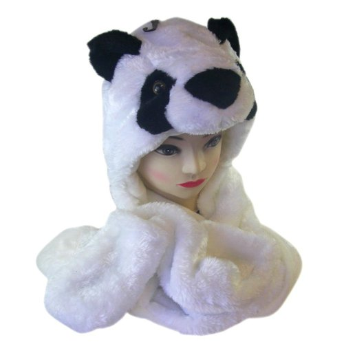 1 X Plush Panda Bear Animal Hat/Scarf with Ear Flaps and Hand Pockets - 1