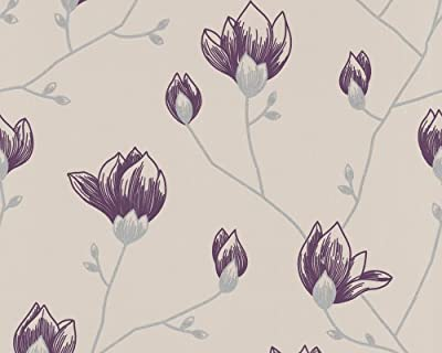 Wallpaper Floral Pattern Beige Purple and Grey