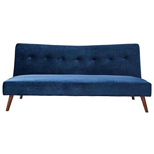 KARL Banquette clic clac 3 places - Tissu velours bleu foncé - Vintage - L 181 x P 91 cm