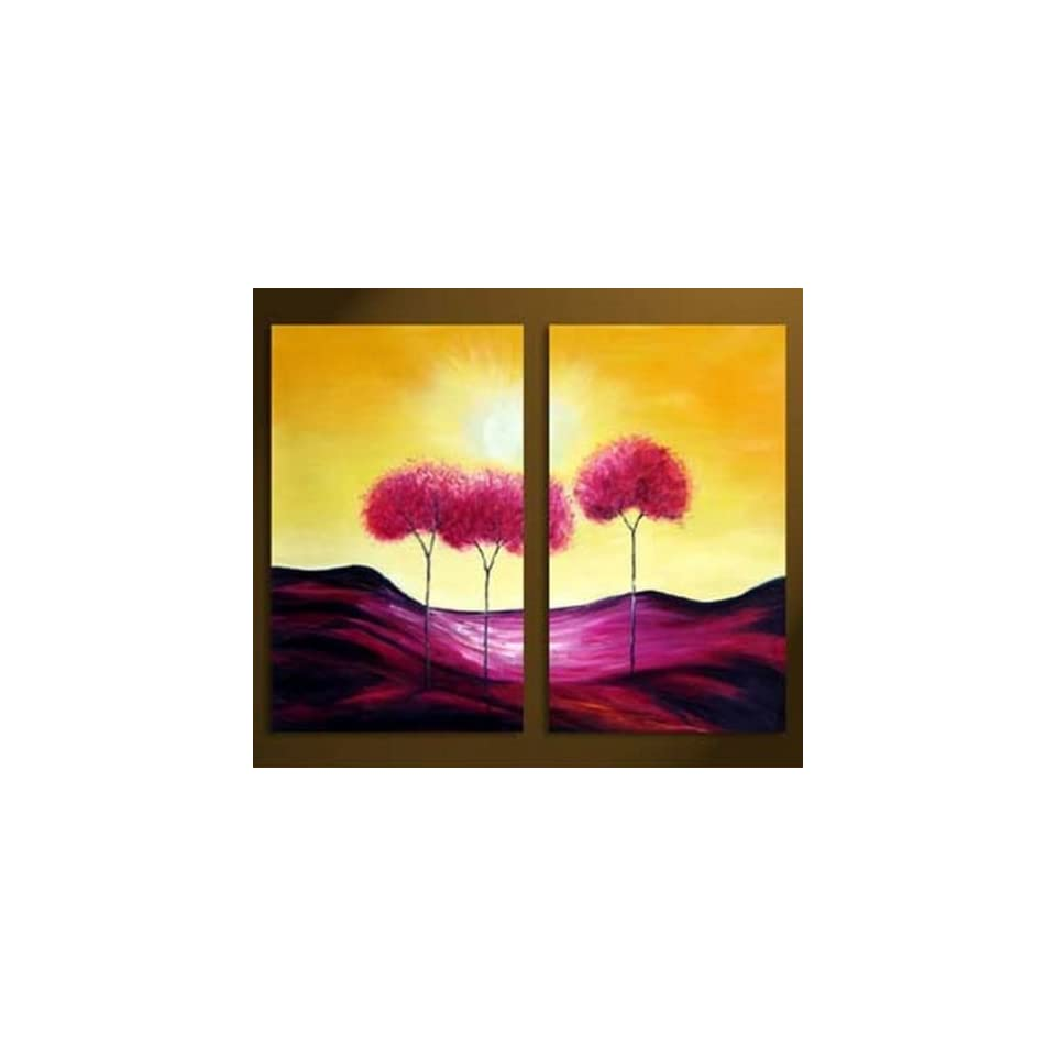 Hand Painted Canvas Art Tree of Life Large Oil Painting 2 Piece Wall Art Group Painting Modern Art Unframed and Unstretched