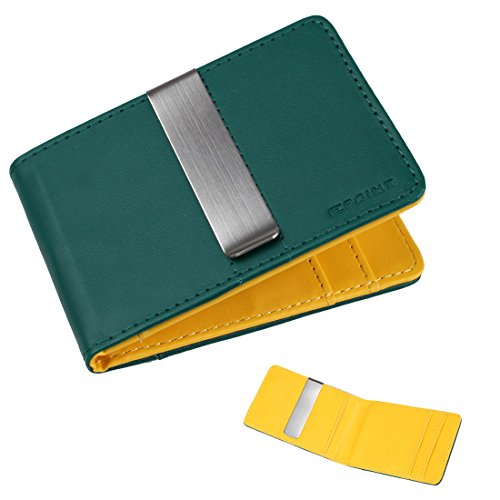 Ecm08A08 Green Yellow Wholesale Leather Wallet Stainless Steel Money Clip And 4 Card Holders Christmas Presents By Epoint