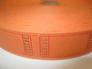 2000 Blank Orange Single Roll Consecutively Numbered Raffle Tickets