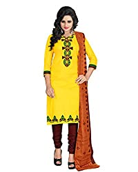 Drapes Women's Cotton Printed Unstitched Dress Material (Yellow)