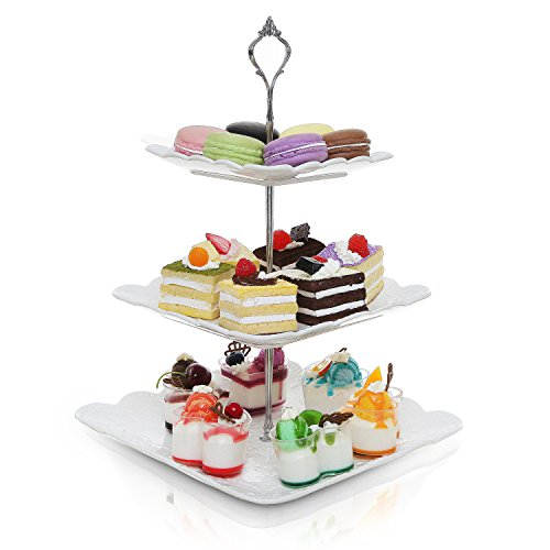 Decorative Metal & White Ceramic 3 Tier Serving Platter / Tea Party Centerpiece Dessert Stand Tower (Dessert Dishes Serving compare prices)