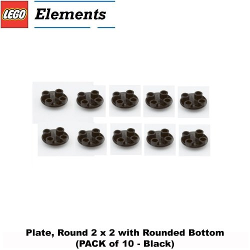 Lego Parts: Plate, Round 2 x 2 with Rounded Bottom (PACK of 10 - Black) - 1