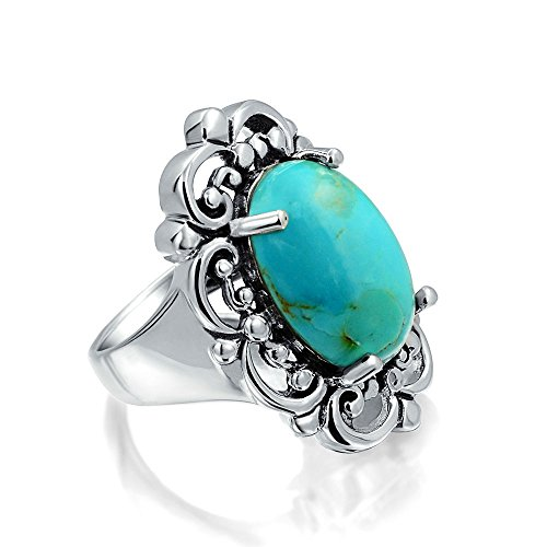 Bling Jewelry Oval Natural Compressed Turquoise 925 Silver Cocktail Ring