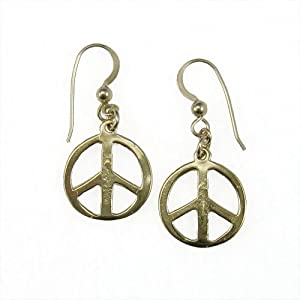 Small Peace Symbol Peace Bronze Earrings