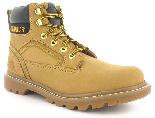 Mens Tan Cat Leather Work Boots - Honey Nubuck - UK 12