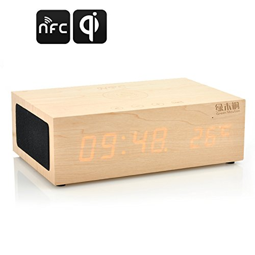 Qibox Wireless Qi Charging Wooden Led Clock - Bluetooth Speakers, Support Nfc, Thermometer Function