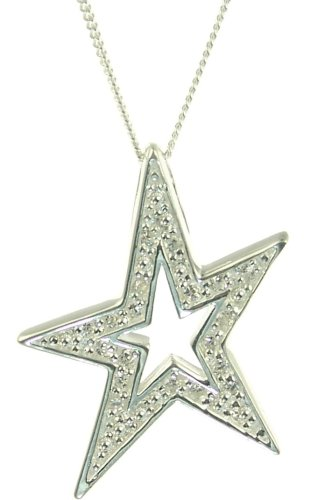 Silver Cubic Zirconia Set Star Pendant on 46cm Curb Chain