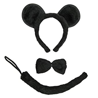SeasonsTrading Black Mouse Ears, Tail, & Bow Tie Costume Set ~ Halloween Costume Kit