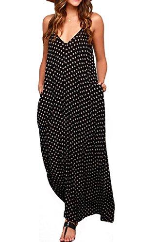 LILBETTER-Women-V-neck-Polka-Dot-Print-Spaghetti-Strap-Boho-Long-Maxi-Dresses