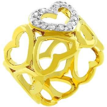14K Gold Bonded CZ Heart Eternity Ring