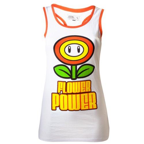 Nintendo Top (Damen) -L- Flower Power, weiss
