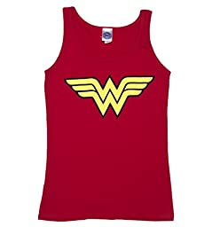 Wonder Woman Logo Ladies Tank Top, Red (Medium)