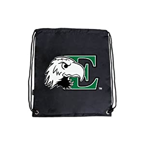 Eastern Michigan Nylon Black Drawstring Backpack, E w/Eagle Head