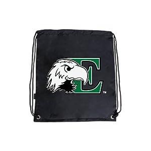 Eastern Michigan Nylon Black Drawstring Backpack, E w/Eagle Head