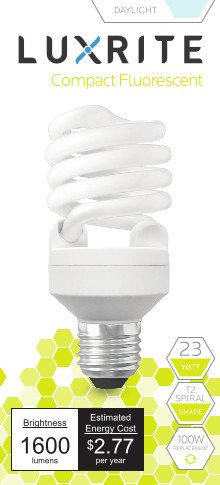 Luxrite LR20200 (2-Pack) 23-Watt CFL T2 Mini Spiral Light Bulb, Equivalent To 100W Incandescent, Day Light 6500K, 1600 Lumens, E26 Standard Base (Flourescent Bulbs Dimmable compare prices)