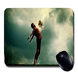 Awwsme Boy Hitting Football With His Chest Mousepad