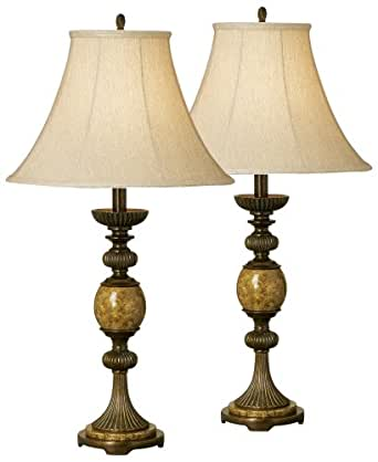Set Of Two Kathy Ireland Riviera Faux Marble Table Lamps