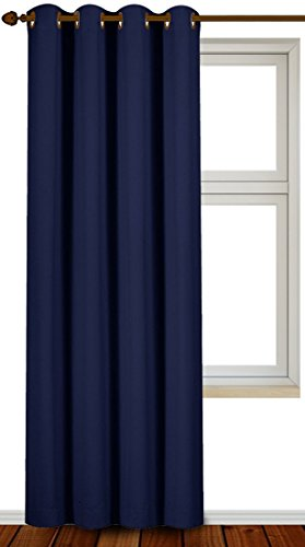 Blackout Room Darkening Curtains Window Panel Drapes - (Navy Color) 1 Panel, 52 inch wide by 84 inch long each panel, 8 Grommets / Rings per panel, 1 Tie Back included - by Utopia Bedding (Color Drapes compare prices)
