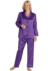 Brushed Back Satin Pajamas - Misses Sizes