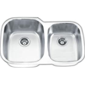 Yosemite Home Decor MAG503PS 18-Gauge Stainless Steel Undermount Double-Bowl Sink, 32-1/8-by-20-5/8-by-7-Inch, 9-Inch Left, Pearl Satin