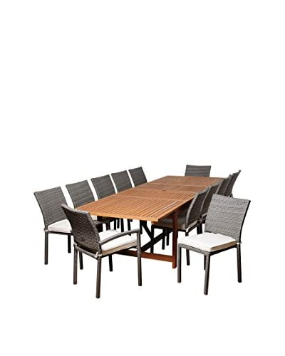 Amazonia Pasadena 13-Piece Eucalyptus Wicker Extendable Rectangular Dining Set with Off-White Cushions, Brown/Grey